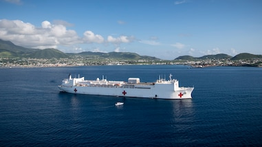 USNS Comfort (T-AH 20) is anchored off the coast of Basseterre, St. Kitts and Nevis.