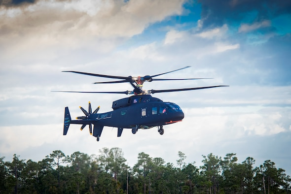 The Sikorsky-Boeing SB>1 DEFIANT™ is shown during its first flight in March. The military helicopter, being developed for the Army's Joint Multi-Role Technology Demonstrator program, was tested earlier this year at the AEDC National Full-Scale Aerodynamics Complex at Moffett Field in Mountain View, California. (Courtesy photo)