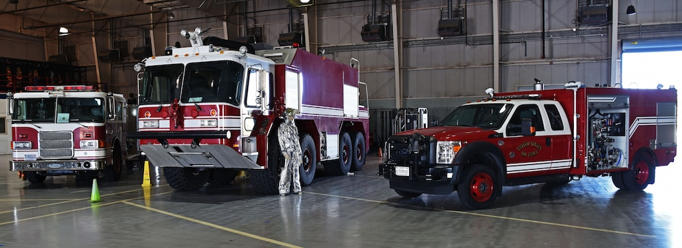 Fire Protection vehicles are put on display at the Louis F. Garland Department of Defense Fire Academy on Goodfellow Air Force Base, Texas, Oct. 5, 2019. The attack on the World Trade Center created a shift among firefighters, their preparedness and awareness of the possibility of mass causality events increased dramatically. (U.S. Air Force photo by Airman 1st Class Ethan Sherwood/Released)
