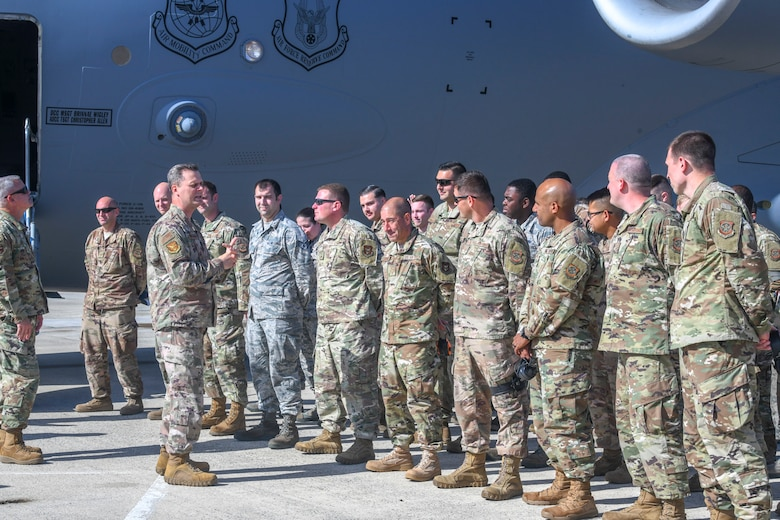 Col. Joel Safranek, 436th Airlift Wing commander, speaks to Airmen assigned to the 736th Aircraft Maintenance Squadron during a dedicated crew chief unveiling ceremony Oct. 4, 2019, at Dover Air Force Base, Del.  Tech. Sgt. Adam Olson, 736th AMXS DCC program manager, and  Tech. Sgt. Anthony Carter, 436th AMXS DCC program manager, were originally tasked with drafting the request for Air Mobility Command approval. (U.S. Air Force photo by Senior Airman Christopher Quail)