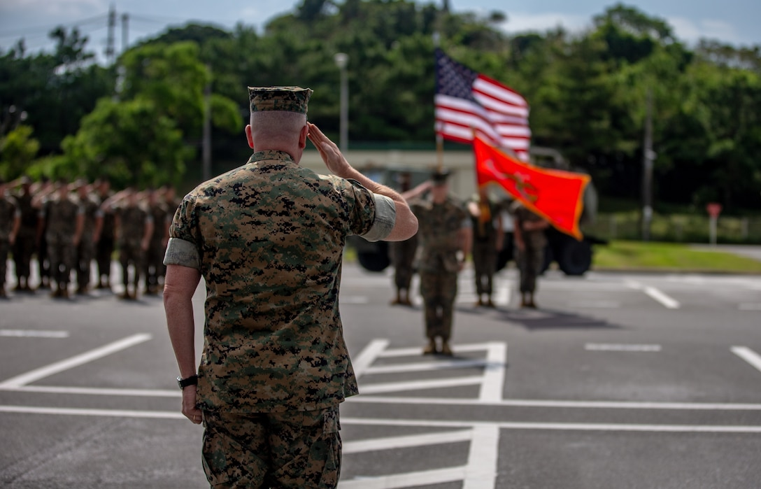 U.S. Marine Maj. Gen. William M. Jurney, Commanding General of 3rd Marine Division, renders a salute during the 12th Marine Regiment 92nd Anniversary Battle Colors Rededication Ceremony on Camp Hansen, Okinawa, Japan, Oct. 4, 2019. The ceremony is an opportunity for Marines to remember warriors past and to recognize contributions of service members and families to current operations.