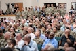 Brig. Gen. Twanda (Tia) Young, Deputy Commanding General, U.S. Army Human Resources Command, addressed a crowd about the activation of the new Reserve Personnel Management Directorate (RPMD) during a town hall for the HRC workforce, held on Fort Knox, Ky., Oct. 2, 2019. Young who will also serve as the director of RPMD, explained how establishing one directorate to manage Army Reserve including Active Guard Reserve (AGR) Soldiers will provide one central point for lifecycle management. (U.S. Army photo by Mark Webber)