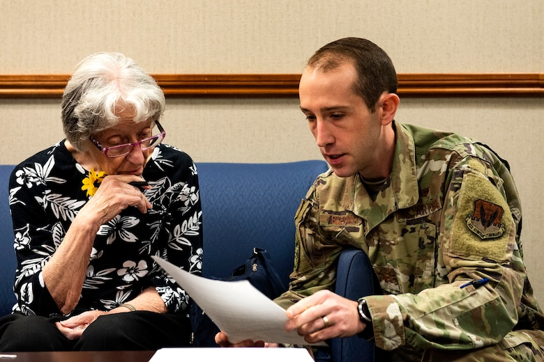 Capt. Phil Blevins, right, 23d Wing chief of general law, assists Barbara Swindell, retiree spouse, with her will Oct. 8, 2019, at Moody Air Force Base, Ga. The judge advocate office regularly aids retirees and military members with wills on Tuesdays. This free legal assistance provides personal and financial relief for customers and enables Airman readiness. (U.S. Air Force photo by Senior Airman Erick Requadt)