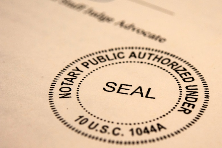 A federal notary seal signifies official completion of a will Oct. 8, 2019, at Moody Air Force Base, Ga. The judge advocate office regularly aids retirees and military members with wills on Tuesdays. This free legal assistance provides personal and financial relief for customers and enables Airman readiness. (U.S. Air Force photo by Senior Airman Erick Requadt)