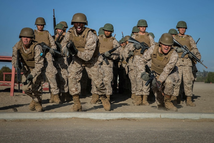 Recruits with India Company, 3rd Recruit Training Battalion, begin the Bayonet Assault course at Marine Corps Recruit Depot San Diego, Oct. 1, 2019.