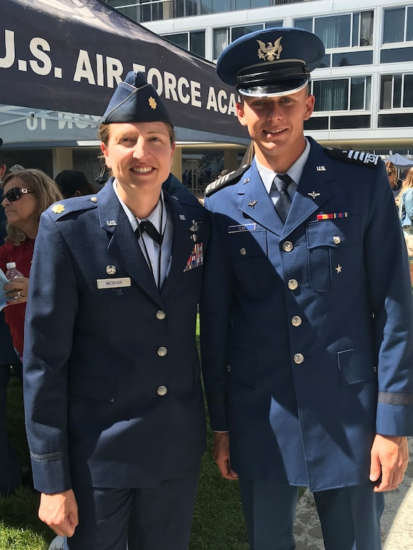 Cadet 1st Class Garrett Tuin appears with Maj. Toni Merhar, air officer commanding for Cadet Squadron 10 at the Air Force Academy earlier this year. Tuin was diagnosed with multiple sclerosis his junior year at the Academy; although he is will not commission, Tuin is scheduled to graduate. He is currently serving as the cadet squadron commander for CS-10. (Courtesy Photo)