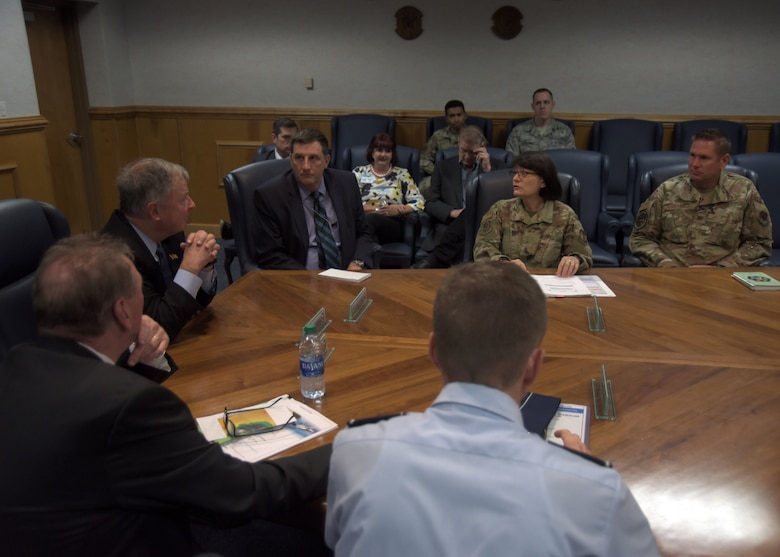 Col. Brian Laidlaw, 325th Fighter Wing commander, and other representatives from Tyndall Air Force Base and its partners, including the Air Force Civil Engineer Center Tyndall Program Management Office and Air Forces Northern / 1st Air Force, facilitated a tour to a congressional delegation focusing on communicating Hurricane Michael recovery and rebuild updates, a current mission brief, a windshield tour of mission support facilities including the dining facility, dormitories, temporary lodging and the fitness center. They also toured the operational side of the base including the 601st Air Operations Center, flight line support and maintenance agencies. (U.S. Air Force photo by Staff Sgt. Magen M. Reeves)