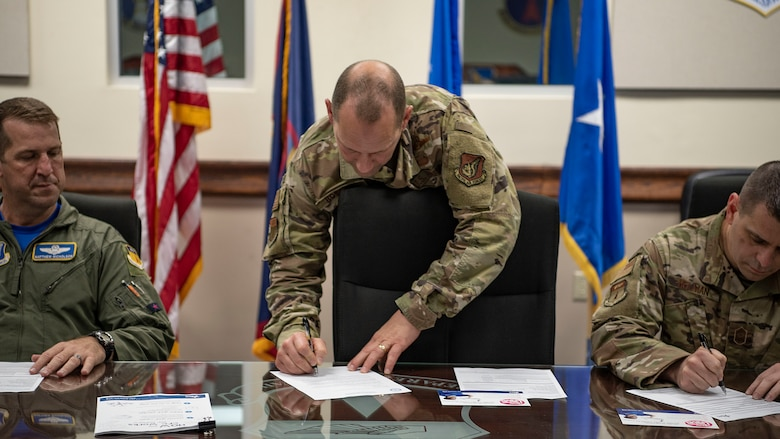 Brig. Gen. Gentry Boswell, 36th Wing commander, signs a memorandum declaring Team Andersen's official Combined Federal Campaign dates from Oct.  4 - Dec. 13, Andersen Air Force Base, Guam, Oct. 4, 2019. The CFC is the official workplace giving campaign of the federal government. (U.S. Air Force photo by Senior Airman Ryan Brooks)