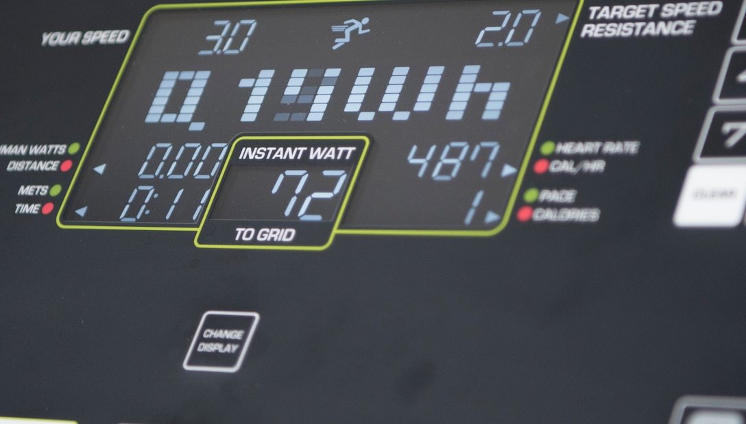 The control panel on one of the new environmentally friendly treadmills featured at the North and Southside Fitness Centers tracks the energy the user generates which is transferred back into the power grid. These treadmills are apart of a vision led by Master Sgt. Joseph McTaggart, non-commissioned officer in charge of Ramstein Air Base Southside Fitness Center, who plans to make both fitness centers more environmentally friendly.