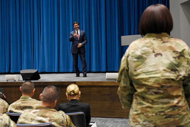 Secretary of Defense Mark T. Esper, answers questions during a town hall style meeting with members of Team Wright-Patt inside Kenney Hall at the Air Force Institute of Technology, Wright-Patterson Air Force Base, Ohio, Oct. 4, 2019. During his visit, Esper and his wife, Leah, toured several offices on base. (U.S. Air Force photo/Ty Greenlees)