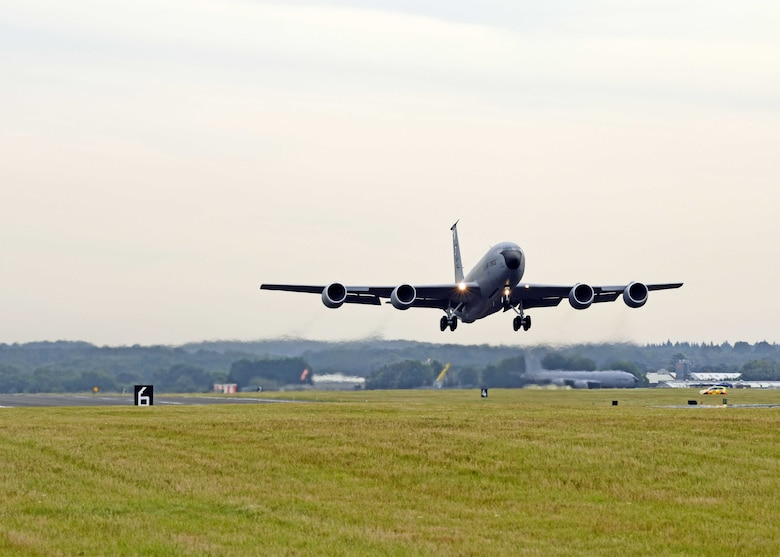 A KC-135 Stratotanker assigned to the 100th Air Refueling Wing takes off during a readiness exercise at RAF Mildenhall, England, Oct. 3, 2019. Exercise scenarios were designed to ensure 100th ARW Airmen were fully prepared for potential contingencies in the wing's area of responsibility. (U.S. Air Force photo by Karen Abeyasekere)