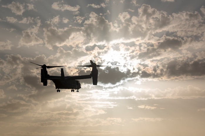 U.S. Marine Corps MV-22 Osprey with Special Purpose Marine Air-Ground Task Force-Crisis Response-Africa 20.1, Marine Forces Europe and Africa, extract Marines from a landing zone during quick-reaction force training at Naval Station Rota, Spain, Sept. 30, 2019.