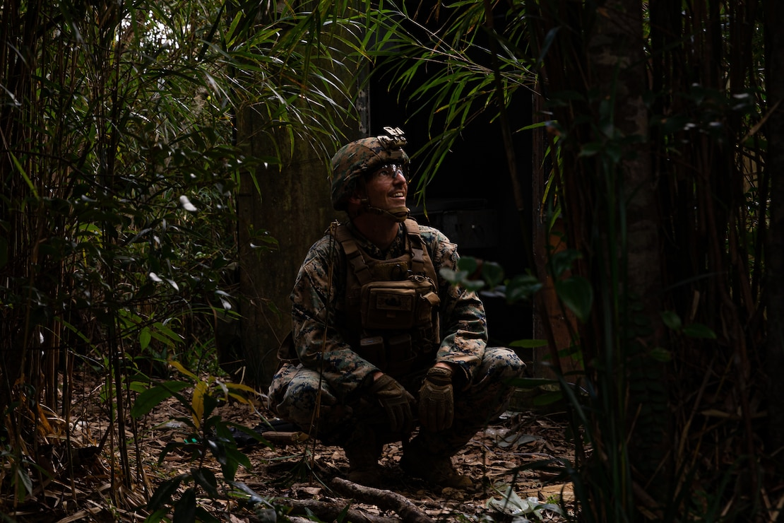 U.S. Marine Corps Staff Sgt. Jeffrey Meyer spots a trip wire while working through a bunker-clearing scenario during an explosive ordnance disposal exercise at the Jungle Warfare Training Center, Camp Gonsalves, Okinawa, Japan, September 17, 2019. The EOD exercise was designed to simulate conventional warfare and the use of conventional ordnance and involved the participation of three U.S. military branches and over 43 different military occupational specialties within III Marine Expeditionary Force. Meyer, a native of Oklahoma City, Oklahoma, is an EOD technician with EOD Company, 9th Engineer Support Battalion, 3rd Marine Logistics Group.