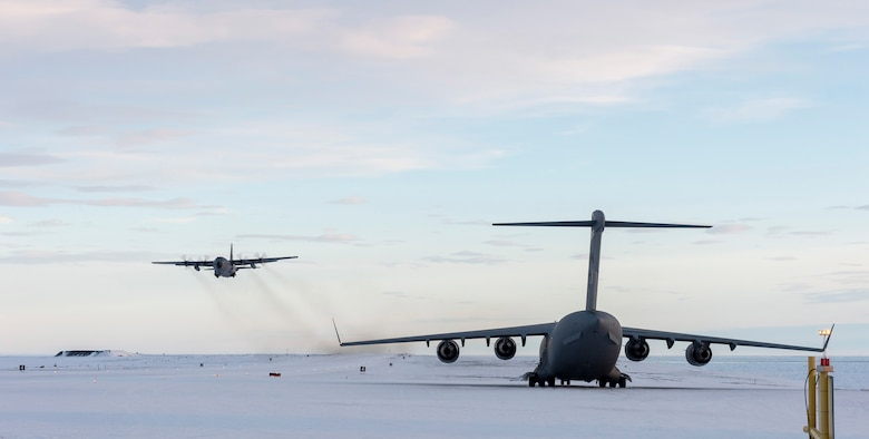 A C-130 flown by Airmen from the New York Air National Guard's 109th Airlift Wing takes off from Canadian Forces Station Alert on Ellsmere Island, Nunavut, after dropping off supplies on Sept. 30, 2019. The Air Guard crew assisted members of the Royal Canadian Air Force's  8 Wing in transporting supplies from Thule Air Base, Greenland to Canadian Forces Station Alert, Nunavut. (Courtesy Photo)