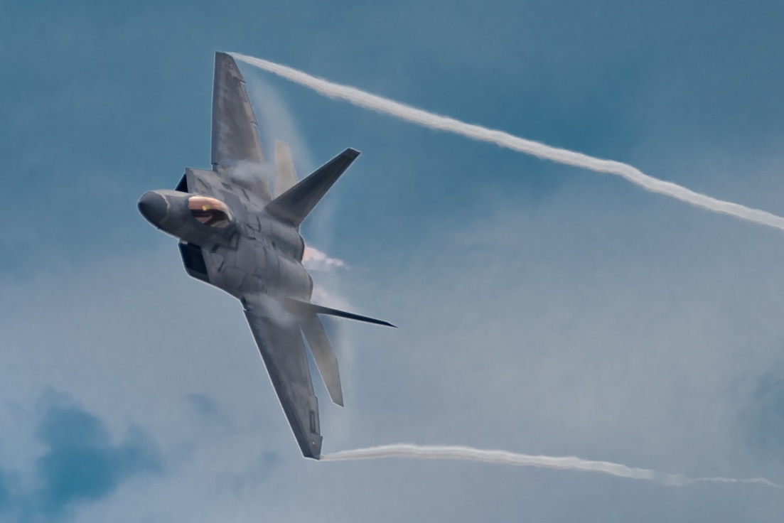 U.S. Air Force Maj. Paul Lopez, F-22 Demo Team commander, performs the dedication pass during the Spirit of St. Louis Air Show Sept. 7, 2019. Representing the U.S. Air Force and Air Combat Command, the F-22 Demo Team travels to 25 air shows a season to showcase the performance and capabilities of the world's premier 5th-generation fighter. (U.S. Air Force photo by 2nd Lt. Sam Eckholm)