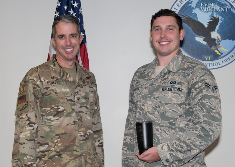 U.S. Air Force Col. Derek O'Malley, 20th Fighter Wing (FW) commander, left, recognized Airman 1st Class Preston Danberg, 20th FW Command Post junior emergency action controller, as Weasel of the Week (WOW) at Shaw Air Force Base, South Carolina, Oct. 3, 2019.