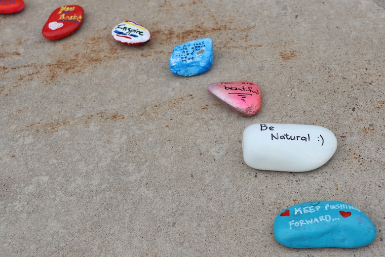 As a result of a resiliency tactical pause, Airmen within the 341st Medical Group painted rocks, varying between inspirational messages or sceneries to encourage positivity and kindness amongst one another.