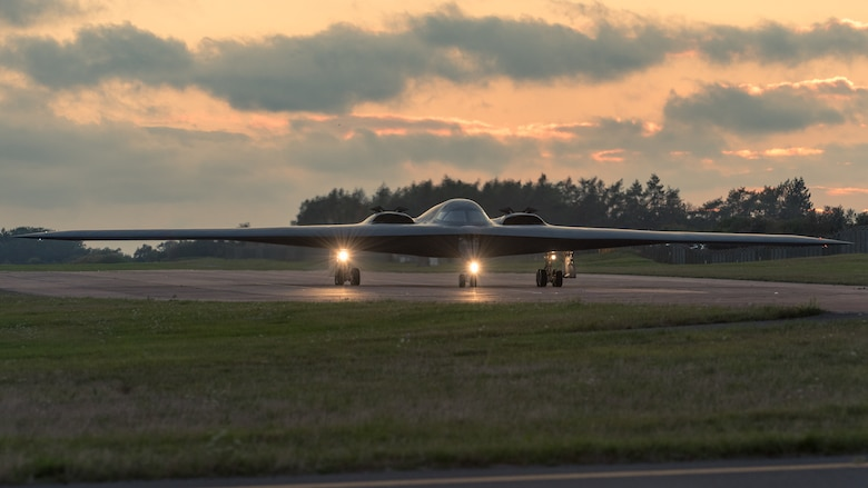 A B-2 Spirit Stealth Bomber, assigned to the 509th Bomb Wing, at Whiteman Air Force Base, Missouri, taxis down a runway at Royal Air Base Fairford, England, on September 11, 2019. Three B-2 bombers, Airmen and support equipment from Whiteman AFB deployed to RAF Fairford as part of Bomber Task Force Europe. Bomber missions like BTF Europe, help familiarize aircrews with air bases, airspace and operations in different geographic combatant commands. These multinational missions strengthen professional relationships and improves overall coordination with allies and partner militaries. (U.S. Air Force photo by Senior Airman Thomas Barley)
