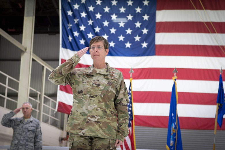 Col. Gretchen Wiltse, 434th Maintenance Group commander, renders her first salute following an assumption of command ceremony at Grissom Air Reserve Base, Indiana Oct. 6, 2019. The 434th MXG is part of the 434th ARW, the largest KC-135R unit in the Air Force Reserve Command. (U.S. Air Force photo/MSgt. Ben Mota)