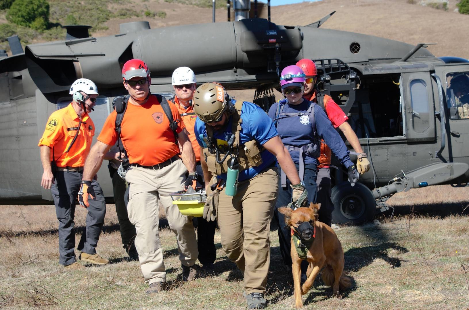 Volunteer search and rescue personnel practice basic helicopter orientation during the safety and awareness course Oct. 4-6 at Walker Creek Ranch, Petaluma, Calif. Some rescuers attended with their rescue dogs from California Rescue Dog Association (CARDA), a free and direct resource of Cal OES' Law and Enforcement Division.