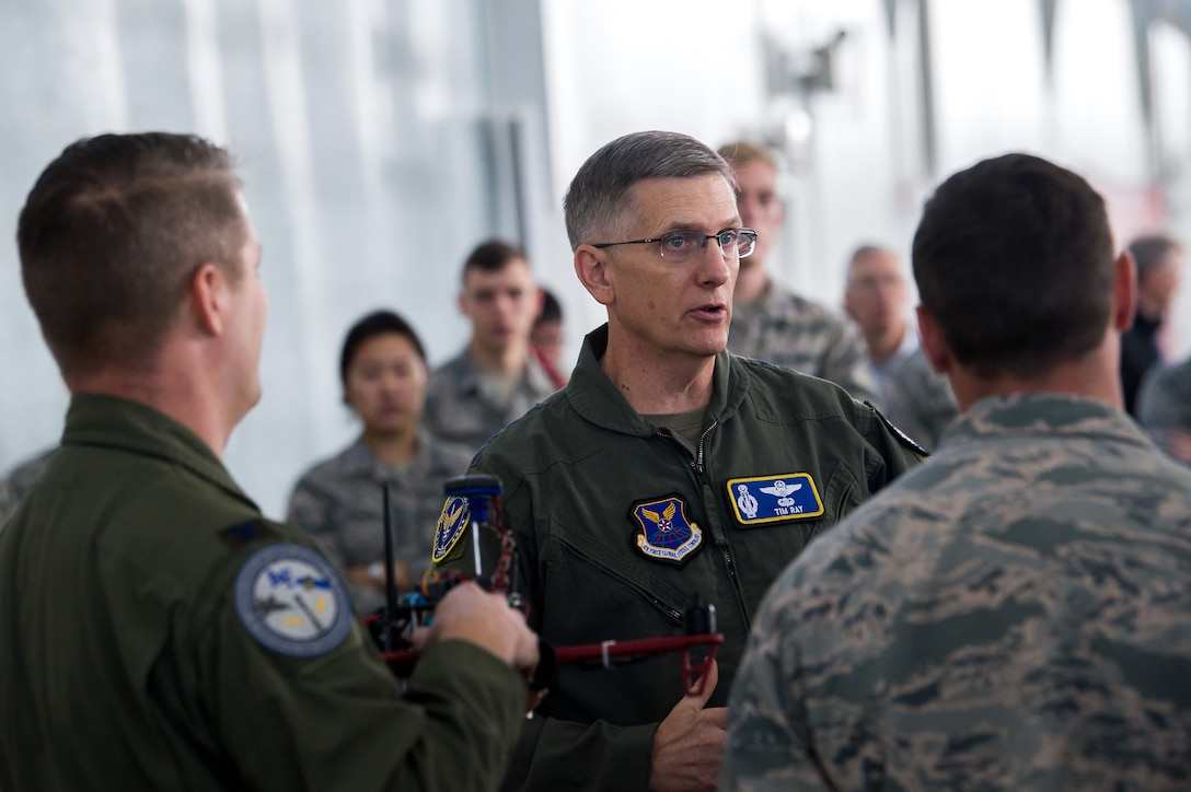 Gen. Tim Ray, Air Force Global Strike Command commander, talks with Air Force Academy cadets during an immersion tour Oct. 2, 2019, at the U.S. Air Force Academy, Colo. As part of Ray's visit to the Academy, he met with cadets and faculty members involved in the Unmanned Aerial Systems research program. (U.S. Air Force photo by Trevor Cokley)