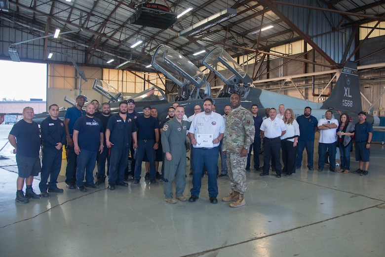 "The 47th Maintenance Directorate T-38 Talon II division poses for a picture at Laughlin Air Force Base, Texas, Oct. 3, 2019. Daniel Soto, a 47th Maintenance Directorate aircraft maintenance supervisor was chosen by wing leadership to be the ""XLer of the Week"" of Sept. 30, 2019. (U.S. Air Force photo by Senior Airman Daniel Hambor)"