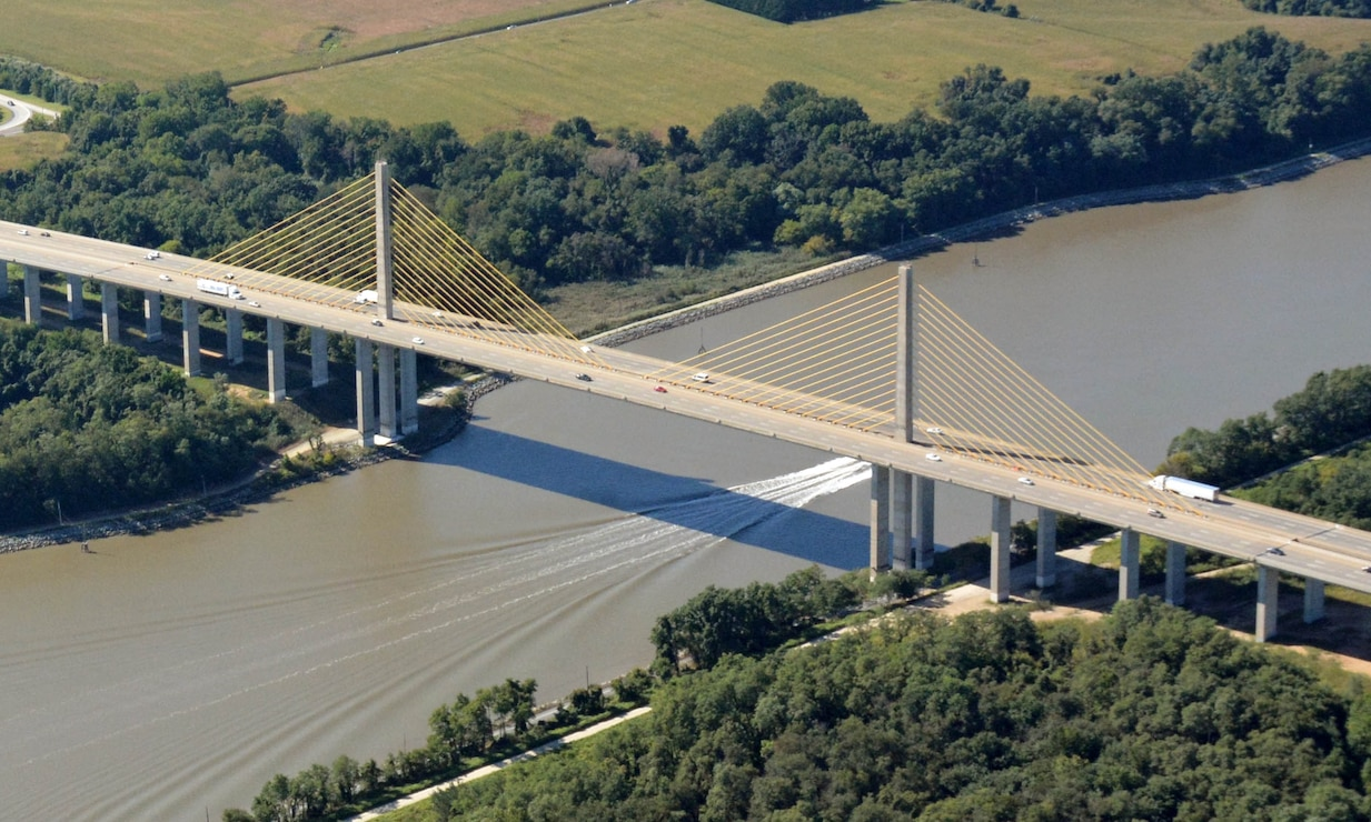 Photo shows the Senator William V. Roth, Jr. Bridge over the Chesapeake & Delaware Canal Waterway. The Senator William V. Roth, Jr. Bridge was built in 1995 and carries State Route 1 over the Chesapeake and Delaware Canal. The main span is 750 feet long and the overall length of the bridge is 4,650 feet.