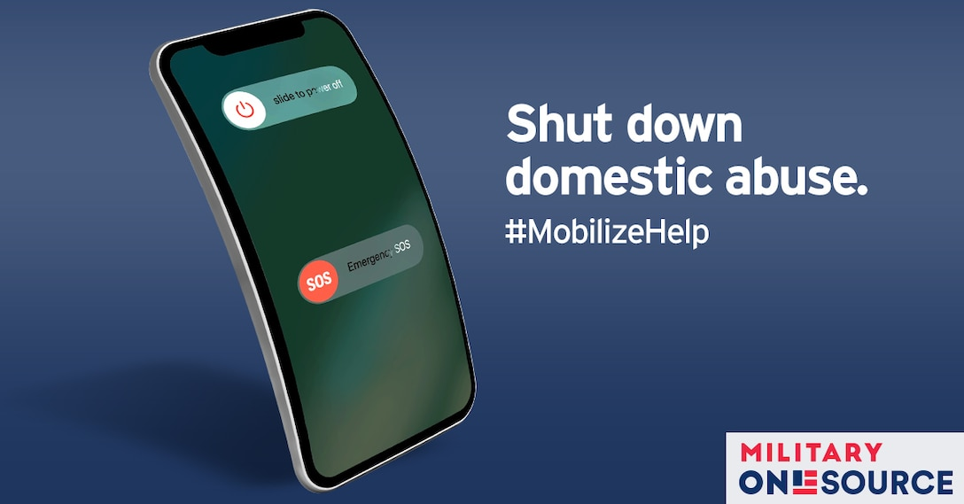 """A captioned graphic of a mobile phone displaying a shutdown screen. The text reads, """"Shut down domestic abuse. #mobilizehelp"""""""