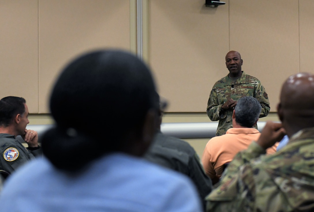 Chief Master Sgt. of the Air Force Kaleth O. Wright addresses Airmen at the last WHYTANK Culture event here Sept. 20.