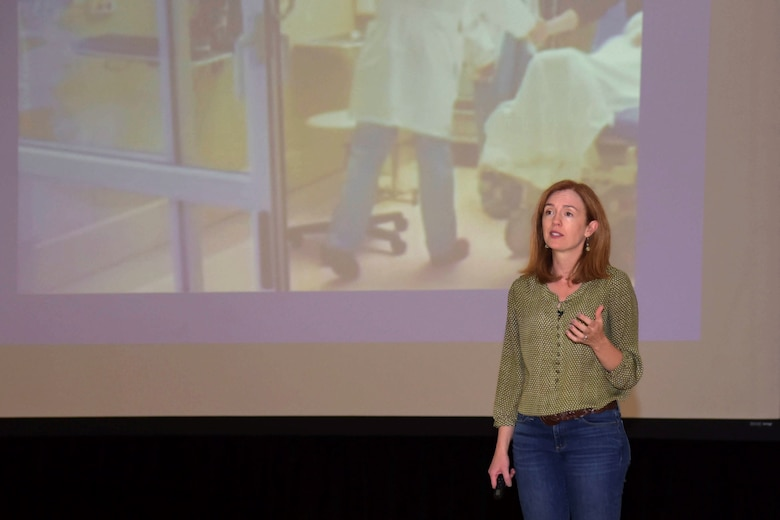 Dr Emmy Betz, co-founder of the Colorado Firearm Safety Coalition, speaks at the Team Buckley Connects Day on Sept. 27, 2019, Buckley Air Force Base, Colo. Betz lost her cousin to suicide by firearm and actively seeks to educate people about firearm safety.