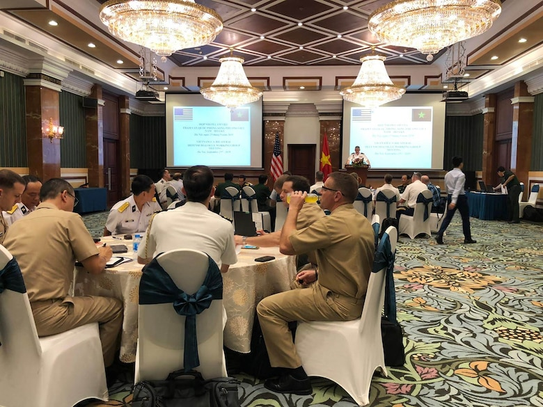 Pacific Air Forces and the Vietnamese Air Defense-air force Airmen discuss cooperation during PACAF-ADAF Airman-to-Airman Talks in Hanoi, Vietnam, Sept. 25-27, 2019. This year's event marked the ninth iteration of the A2AT with the Vietnamese ADAF, which was combined with the Bilateral Defense Dialogues, co-chaired by Maj. Gen. Stephen Sklenka, U.S. Indo-Pacific Command's strategic planning and policy director, and Lt. Gen. Vu Chien Thang, Department of Foreign Relations director general. (Courtesy Photo)