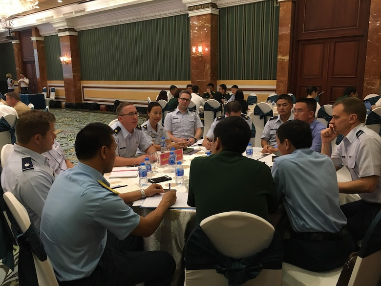 Pacific Air Forces and the Vietnamese Air Defense air force Airmen discuss cooperation during PACAF-ADAF Airman-to-Airman Talks in Hanoi, Vietnam, Sept. 25-27, 2019. This year's event marked the ninth iteration of the A2AT with the Vietnamese ADAF, which was combined with the Bilateral Defense Dialogues, co-chaired by Maj. Gen. Stephen Sklenka, U.S. Indo-Pacific Command's strategic planning and policy director, and Lt. Gen. Vu Chien Thang, Department of Foreign Relations director general. (Courtesy Photo)