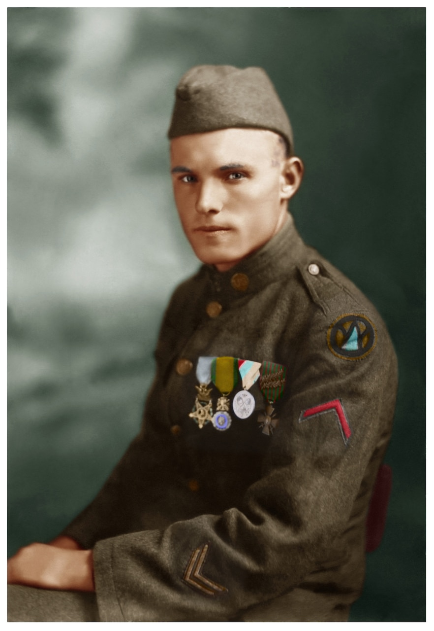A World War I soldier in uniform wears several medals, including the Medal of Honor.