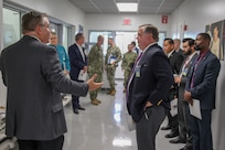 """Norco, Calif. (August 15, 2019) """"As America faces ever-more-complex technological threats to its security, our Navy is expanding its capability to meet current and emerging threats.""""  NSWC, Corona Commanding Officer Capt. Braunbeck addresses federal, state and local officials at today's State of the Command. (U.S. Navy photo by Daniel Cruz/Released)"""