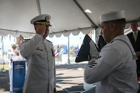 Capt. Khary W. Hembree-Bey reliieved Capt. Richard A. Braunbeck III as the commanding officer of Naval Surface Warfare Center, Corona Division in a change of command ceremony, Rear Adm. Eric Ver Hage, Commander, NAVSEA Warfare Centers, presided over the ceremony.
