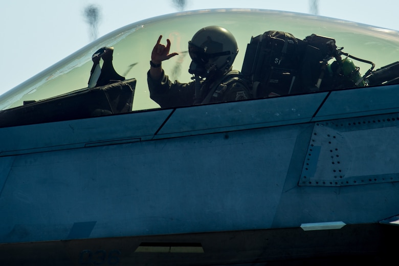 U.S. Air Force F-22 Raptors flown by the 94th and 149th Fighter Squadron pilots take off Oct. 30, 2018 from Tyndall  Air Force Base, Florida. After Hurricane Michael swept the area, multiple major commands have mobilized relief assets in an effort to restore operations after the hurricane caused catastrophic damage to the base. (US Air Force photo by Senior Airman Sean Carnes)