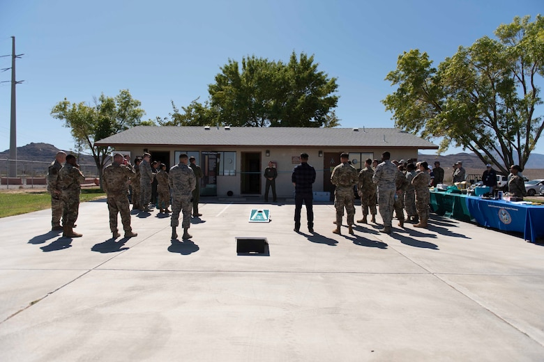 Col. James Price, 432nd Wing/432nd vice commander Air Expeditionary Wing, discussed the importance of taking care of our people at the new Sexual Assault Prevention and Response Office opening at Creech Air Force Base, Nevada, Sept. 30, 2019. During the grand opening, Creech personnel ate barbeque provided by the USO, learned about the resources offered by the SAPR Office and toured the new facility. (U.S. Air Force photo by Senior Airman Lauren Silverthorne)