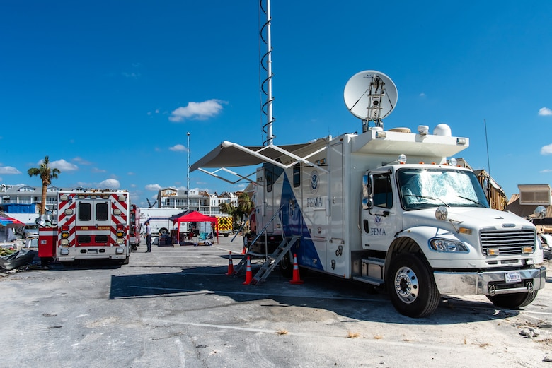 A FEMA Mobile Emergency Response Support Vehicle set up just days after Hurricane Michael made landfall on the Florida Panhandle.