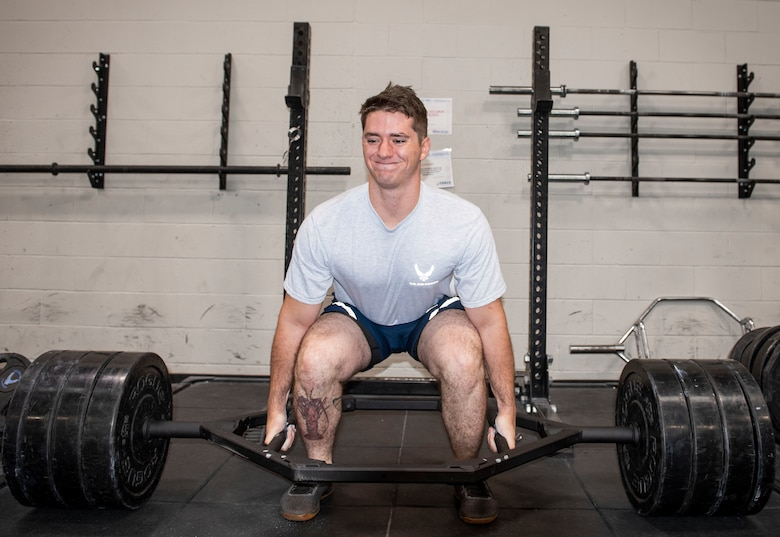 U.S. Air Force Senior Airman Zachery Stringer, 20th Civil Engineer Squadron, Explosive Ordnance Disposal (EOD) flight technician, performs a trap bar deadlift during the EOD Tier 2 fitness practice test, at Shaw Air Force Base, South Carolina, Oct.4, 2019.