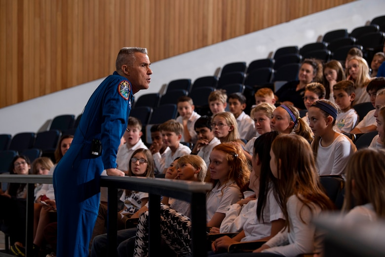 U.S. AIR FORCE ACADEMY, Colo. --  Lt. Col. (ret.) Duane Carey speaks to nearly 300 local school students about his time in space and the journey to get there.  (U.S. Air Force photo/Joshua Armstrong)