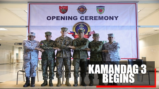 "Philippine, Japanese and U.S. generals and distinguished visitors stand together during the KAMANDAG 3 opening ceremony at Subic Bay, Philippines, Oct. 9, 2019. As treaty allies, U.S.-Philippine and U.S.-Japanese military collaboration has served as a cornerstone for stability in the Indo-Pacific region for decades, and the U.S. has a continuing interest in strengthening our longstanding alliances, reinforcing our maritime security efforts, and addressing our shared extremist threat. KAMANDAG 3 is a Philippine-led, bilateral exercise with participation from Japan. KAMANDAG is an acronym for the Filipino phrase ""Kaagagapay Ng Mga Manirigma Ng Dagat,"" which translates to ""Cooperation of the Warriors of the Sea,"" highlighting the partnership between the U.S. and Philippine militaries. (U.S. Marine Corps photo by Lance Cpl. Ujian Gosun)"