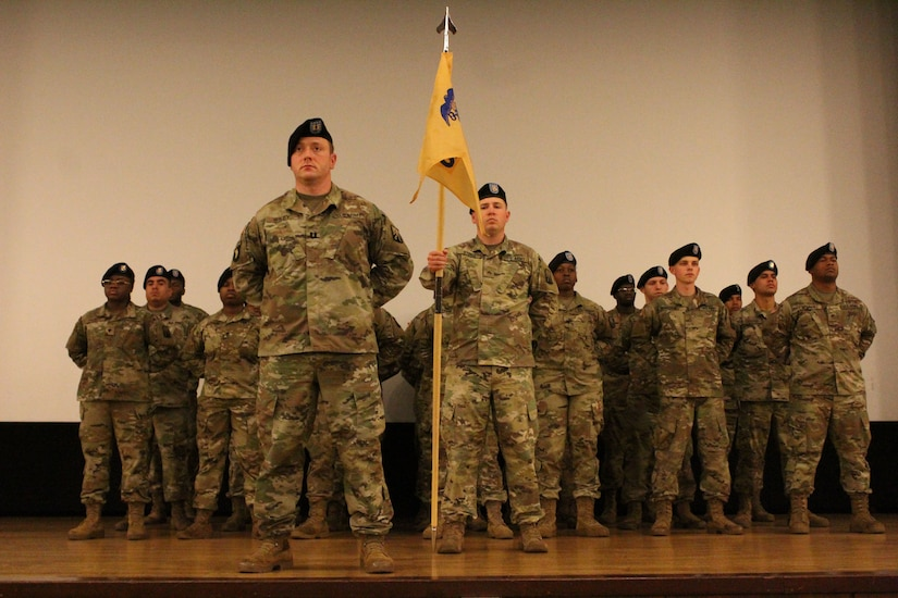 Soldiers of the 55th Quartermaster Company stand in formation during their Activation ceremony