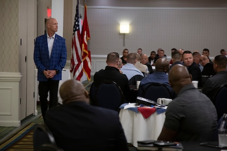 Brig. Gen. James F. Glynn, the commanding general of Marine Corps Recruit Depot Parris Island and Eastern Recruiting Region, speaks to the 4th Marine Corps District career recruiters during a training symposium at Virginia Beach, VA, Oct. 9, 2019. The training event brought all career recruiters together to provide information, develop updated recruiting products, and conduct sustainment training for the professional development of 4MCD's Career Recruiting force. (U.S. Marine Corps photo by Sgt. Nelson Duenas)