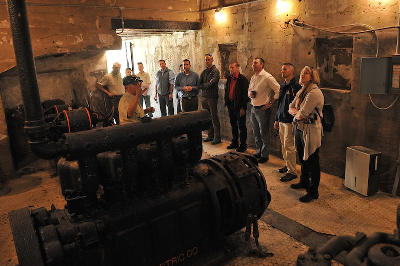 Eleven senior leaders with the 87th Air Base Wing at Joint Base McGuire-Dix-Lakehurst, tour Fort Mott State Park in Pennsville, New Jersey Oct. 4, 2019. The visit to the 19th century defense fortification was coordinated by the wing's historian, James Warrick. Warrick said the tour provided the leaders with a military-heritage themed professional development opportunity. Construction on Fort Mott, then known as the Battery at Finn's Point, began in 1872. Original plans called for eleven gun emplacements for twenty cannons and a mortar battery with six emplacements. Fort Mott would help protect industrial centers further up the river as part of a three-fort coastal defense system. Troops were regularly stationed at the fort from 1897 to 1922. A caretaking detachment served at the fort from 1922 to 1943. In 1947, New Jersey acquired Fort Mott as a historic site and state park, which opened to the public in 1951. (U.S. Air Force photos by Shawn J. Jones)