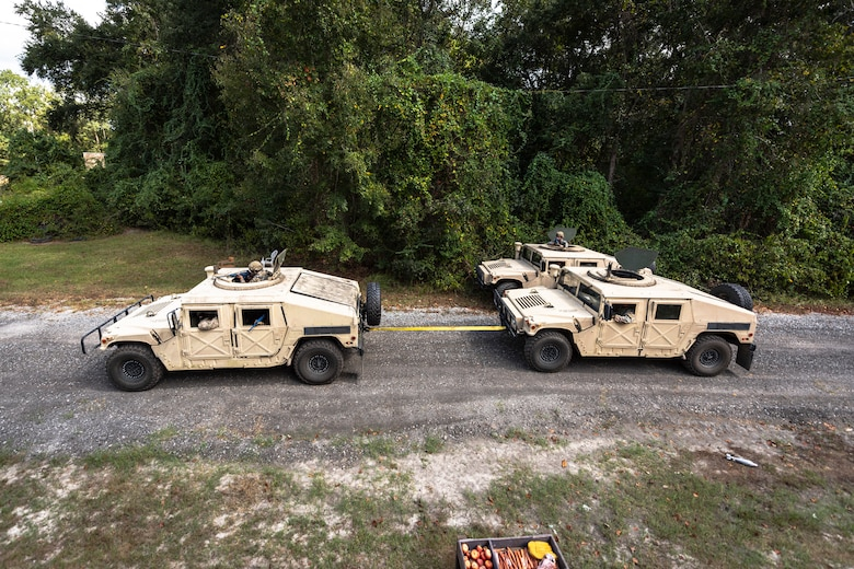 Airmen with the 23d Security Forces Squadron (SFS) conduct vehicle recovery during a field convoy operation Oct. 8, 2019, at Moody Air Force Base, Ga. The field convoy operation gave 23d SFS Airmen an opportunity to improve the ability to shoot, move and communicate, ensuring the Airmen are properly trained and prepared to carry out their mission in a contested environment. (U.S. Air Force photo by Airman 1st Class Taryn Butler)