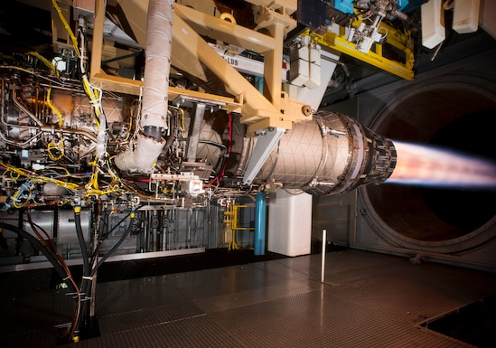 A Pratt & Whitney F100 engine undergoes Accelerated Mission Testing in the AEDC Sea Level Test Cell 3. Resources needed for testing, such as AMT, are loaded into the Integrated Scheduling System, now in use at Arnold Air Force Base, to predict and manage project performance through appropriate integration, de-confliction and optimization, allowing AEDC to meet its strategic, operational and tactical priorities. (U.S. Air Force photo)