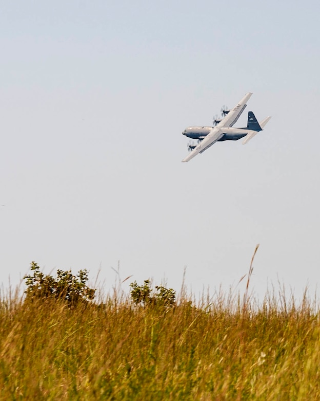 The 913th Airlift Group conducted full-spectrum readiness flying sorties, involving scenarios that required various combat airlift capabilities that could be used in current and future military responses, Oct. 5-6, 2019, and utilized a dirt landing zone on Fort Chaffee, Ark.. The robust and detailed training scenario allowed aircrew and air transportation specialists to operate in austere conditions, simulating enemies with an array of capabilities.  (U.S. Air Force Reserve photo by Maj. Ashley Walker)