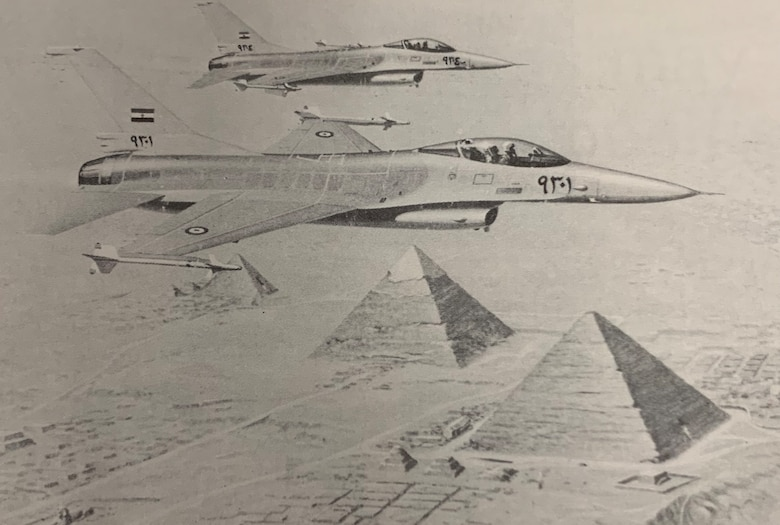 The Egyptian government has purchased F-16s through Peace Vector program during the past two decades. This photo, from the Middle East District's Mt. Weather Bulletin in October 1982, during the District's involvement with Peace Vector II.