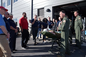 Lt. Col. Eric K. Wilke, 433rd Medical Squadron emergency services physician, briefs 433rd Airlift Wing honorary commanders on lifesaving medical equipment used by Reserve Citizen Airmen during patient transport in medivac aircraft Oct. 5, 2019 at Joint Base San Antonio-Lackland, Texas.