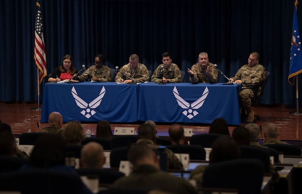Air Mobility Command (AMC) Airmen share personal stories on how they persevere through adversity during a resiliency panel as part of the 2019 Fall Phoenix Rally, Oct. 8, 2019, in the U.S. Air Force Expeditionary Center at Joint Base McGuire-Dix-Lakehurst, New Jersey